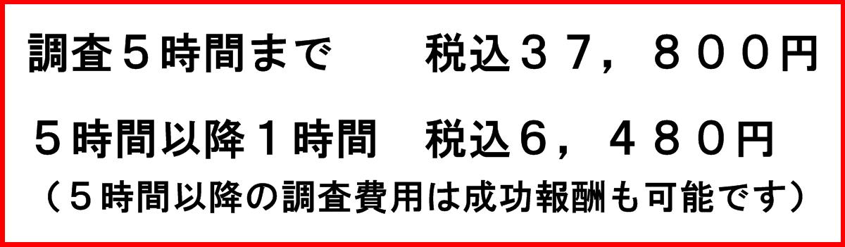 東京都の安い探偵事務所 浮気調査、5時間まで税込37,800円 5時間以降1時間 税込6,480円 5時間以降の調査費用は成功報酬も可能です。